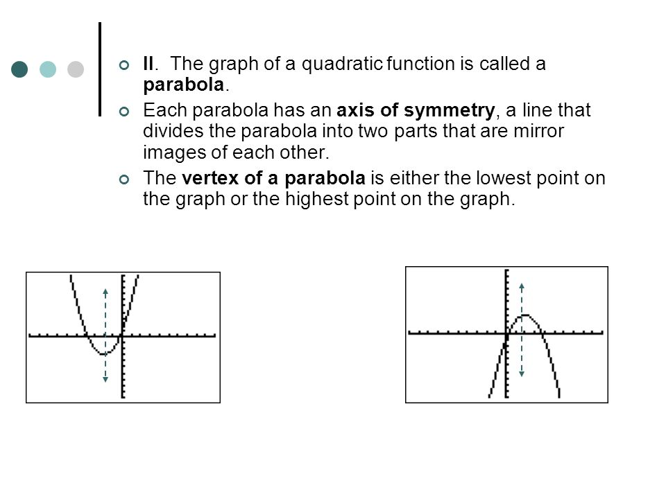 II. The graph of a quadratic function is called a parabola.