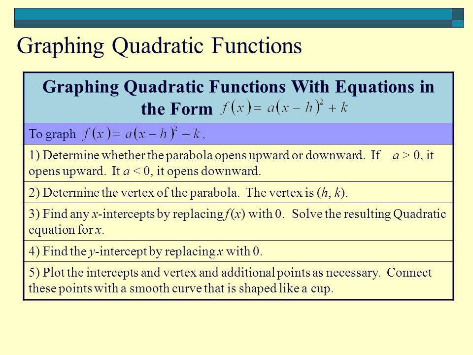 Graphing Quadratic Functions With Equations in the Form T To graph 1) Determine whether the parabola opens upward or downward.