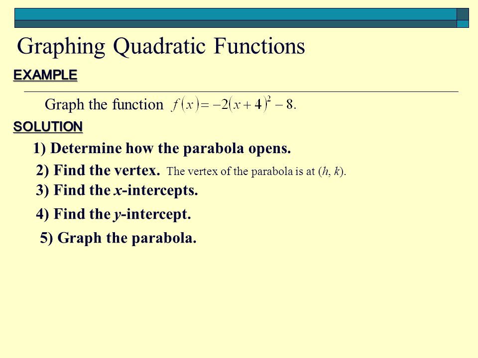 EXAMPLE Graph the function SOLUTION 1) Determine how the parabola opens.