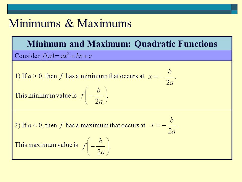 Minimum and Maximum: Quadratic Functions Consider 1) If a > 0, then f has a minimum that occurs at This minimum value is 2) If a < 0, then f has a maximum that occurs at This maximum value is Minimums & Maximums