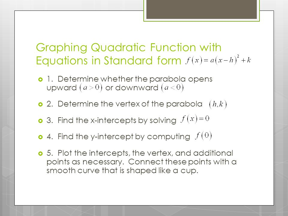 Graphing Quadratic Function with Equations in Standard form  1.