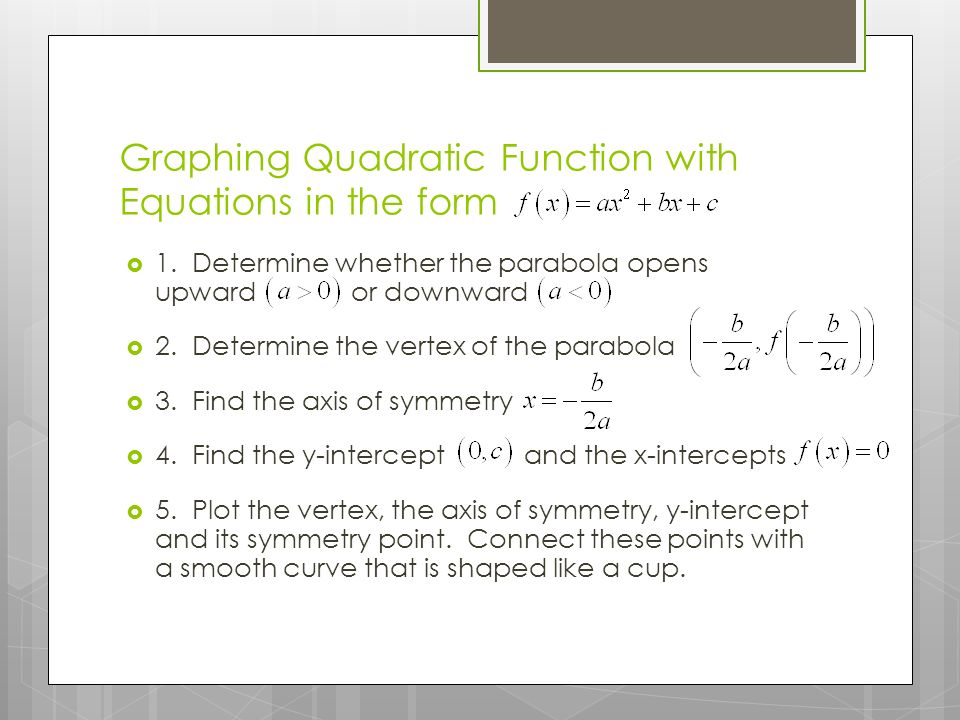 Graphing Quadratic Function with Equations in the form  1.