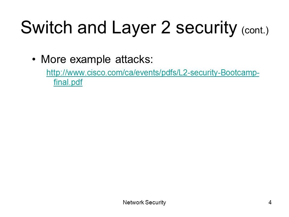 Network Security1 – Chapter 5 – Secure LAN Switching Layer 2