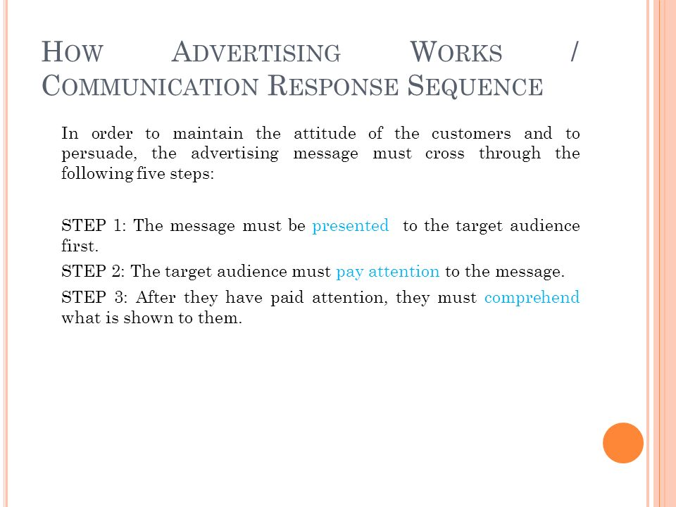 H OW A DVERTISING W ORKS / C OMMUNICATION R ESPONSE S EQUENCE In order to maintain the attitude of the customers and to persuade, the advertising message must cross through the following five steps: STEP 1: The message must be presented to the target audience first.