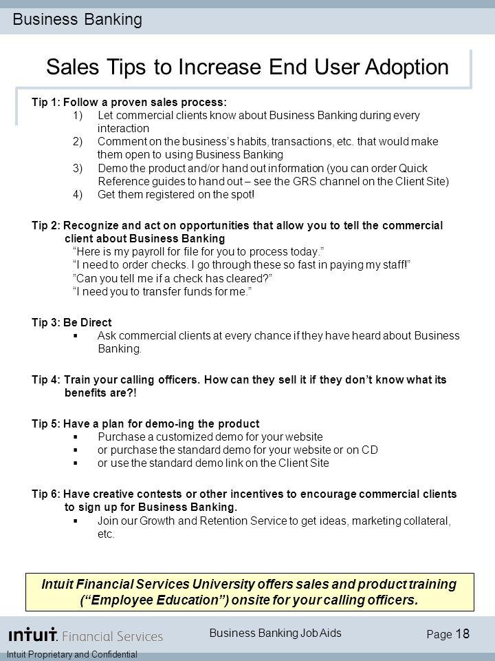 Business Banking Job Aids Intuit Financial Services University