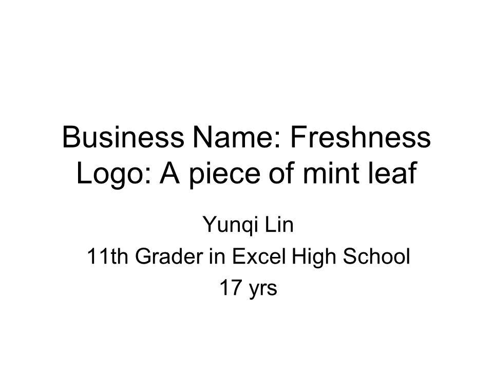 business name freshness logo a piece of mint leaf yunqi lin 11th