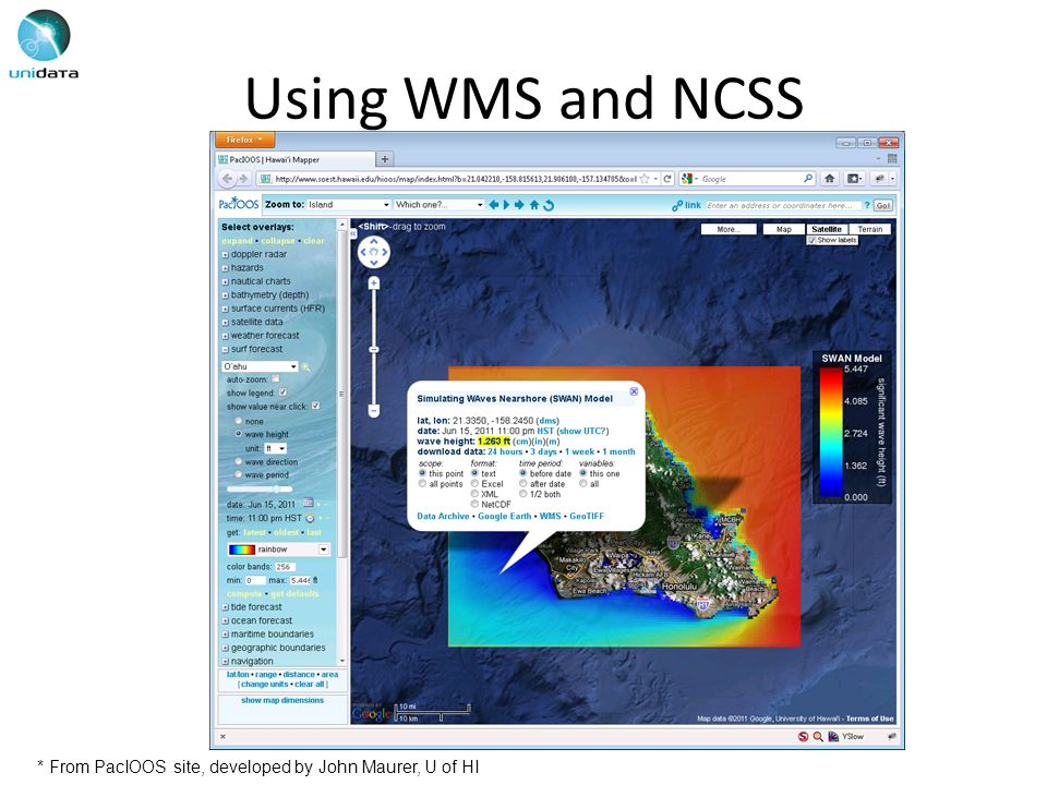 Using WMS and NCSS * From PacIOOS site, developed by John Maurer, U of HI