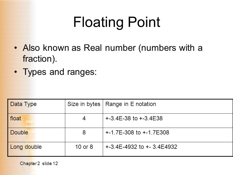Chapter 2 slide 12 Floating Point Also known as Real number (numbers with a fraction).
