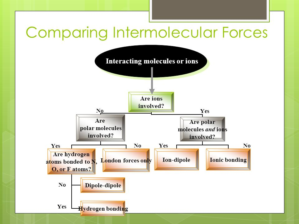 Comparing Intermolecular Forces Yes No Yes No Interacting molecules or ions