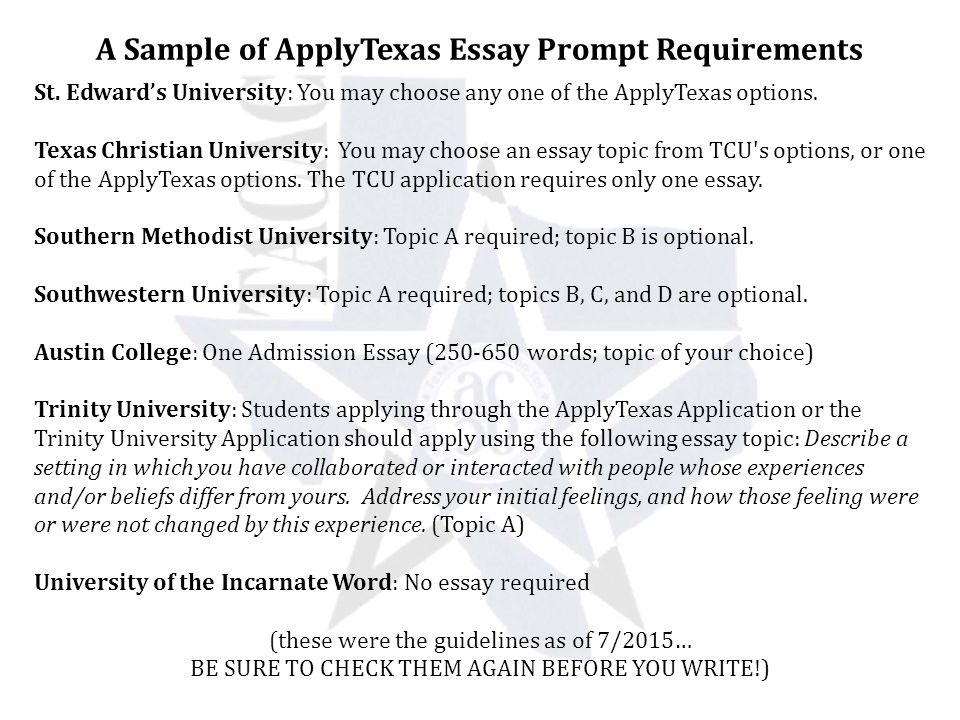 Crafting The College Essay Acci  Shana Castillo Yes Prep North  A Sample Of Applytexas Essay Prompt Requirements St