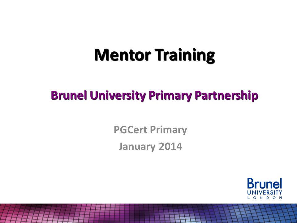 Mentor Training Brunel University Primary Partnership PGCert Primary January 2014