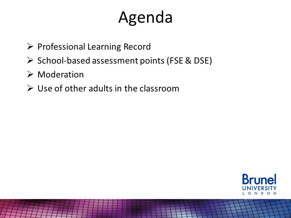 Agenda  Professional Learning Record  School-based assessment points (FSE & DSE)  Moderation  Use of other adults in the classroom