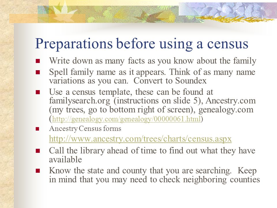 Census Records First census was taken 1790 then every  - ppt