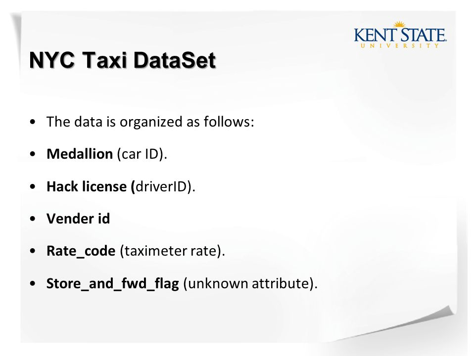 Capstone Project  NYC Taxi DataSet The data is stored in CSV format