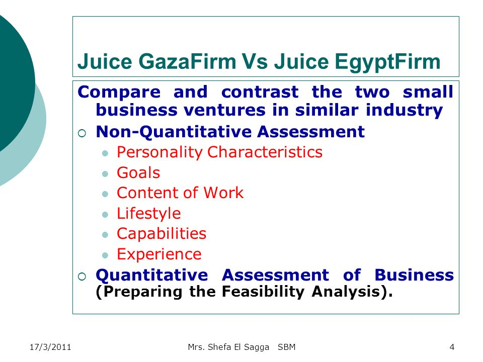 Small business management chapter 4 the business plan ppt download 4 juice gazafirm vs juice egyptfirm compare and contrast the two small business ventures in similar industry non quantitative assessment personality malvernweather Choice Image