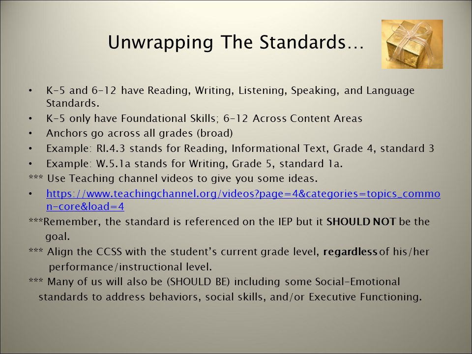 Unwrapping The Standards For Students Who Struggle How Can