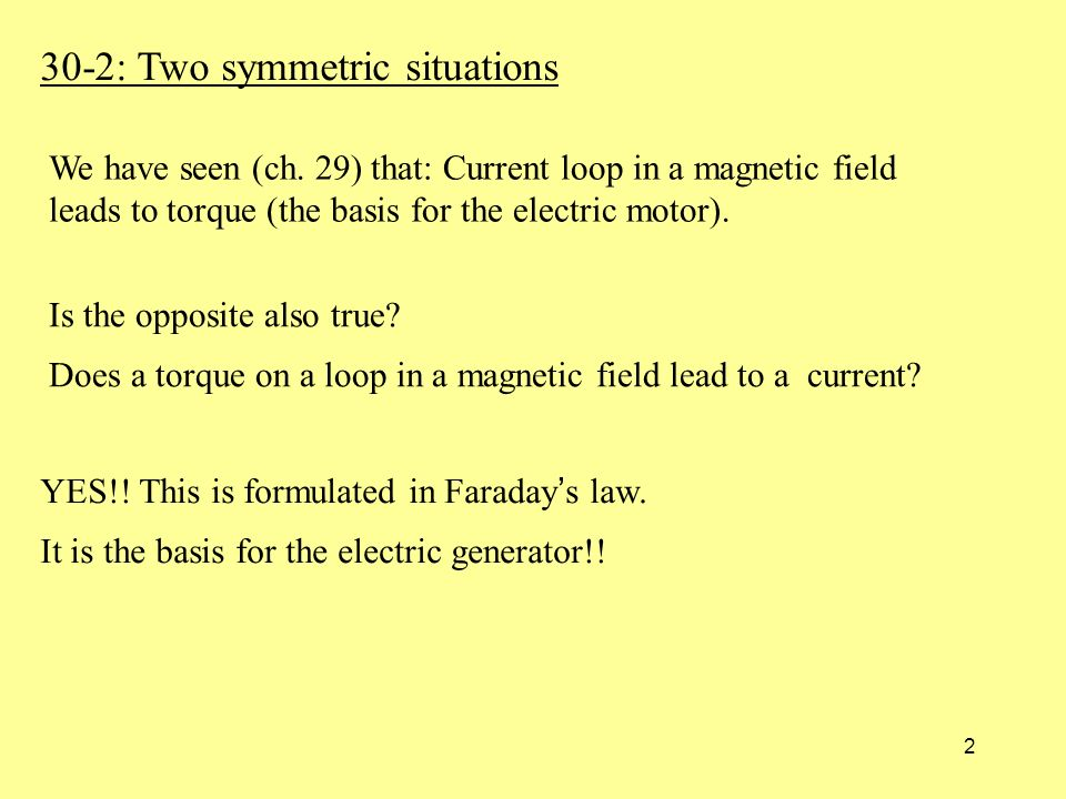 2 30-2: Two symmetric situations YES!. This is formulated in Faraday ' s law.