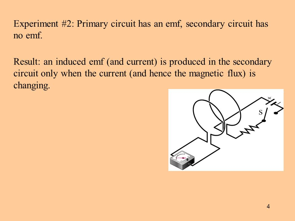 4 Experiment #2: Primary circuit has an emf, secondary circuit has no emf.