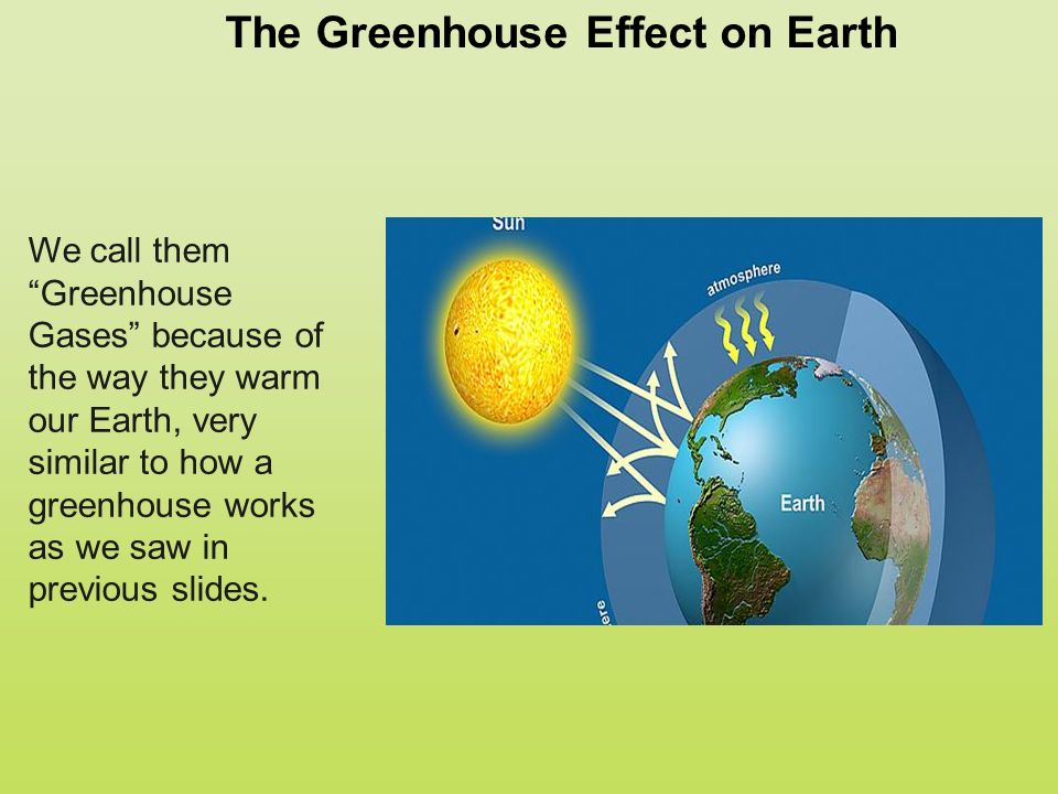 The Greenhouse Effect on Earth We call them Greenhouse Gases because of the way they warm our Earth, very similar to how a greenhouse works as we saw in previous slides.