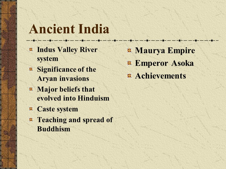 Ancient India Indus Valley River system Significance of the Aryan invasions Major beliefs that evolved into Hinduism Caste system Teaching and spread of Buddhism Maurya Empire Emperor Asoka Achievements