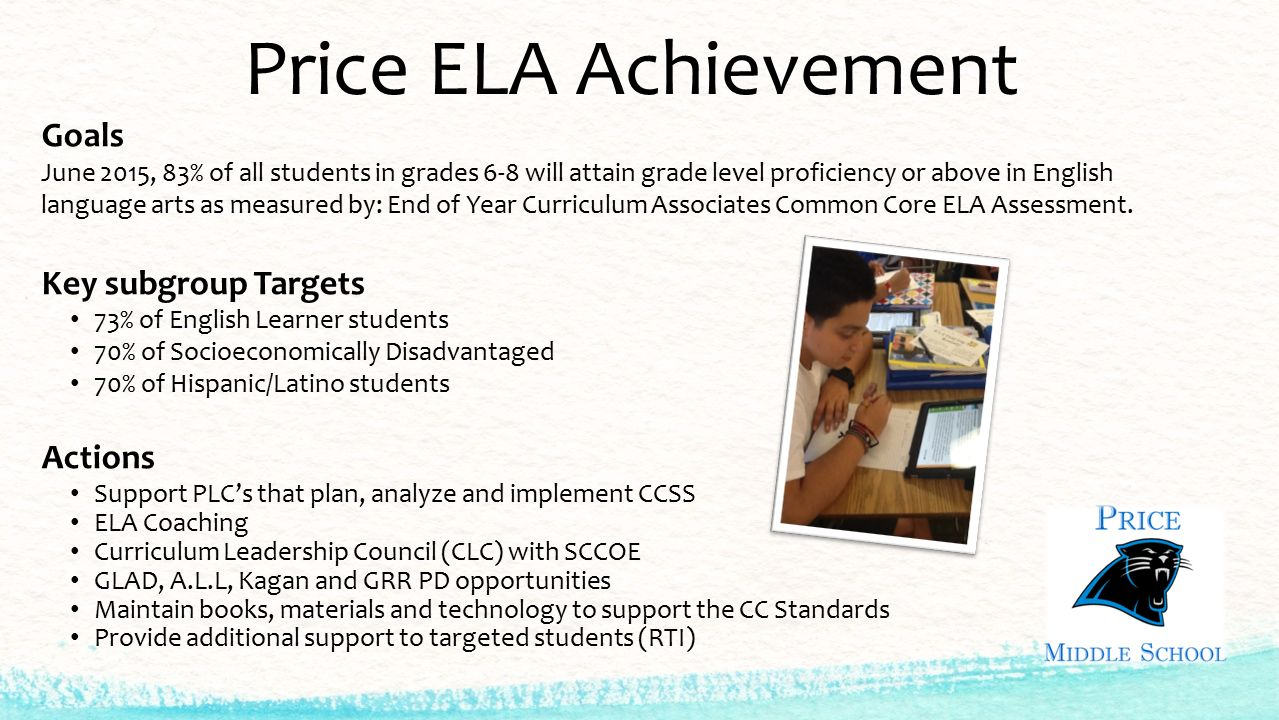 Price ELA Achievement Goals June 2015, 83% of all students in grades 6-8 will attain grade level proficiency or above in English language arts as measured by: End of Year Curriculum Associates Common Core ELA Assessment.