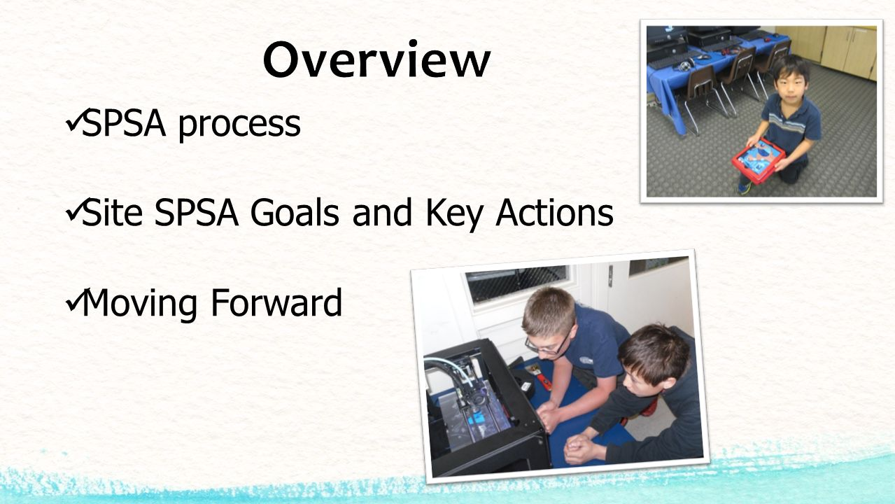SPSA process Site SPSA Goals and Key Actions Moving Forward