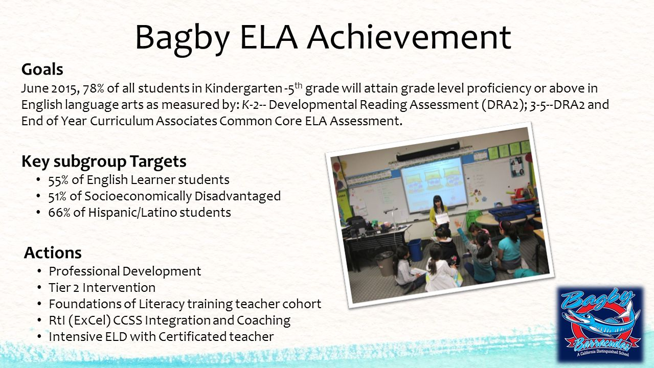Bagby ELA Achievement Goals June 2015, 78% of all students in Kindergarten -5 th grade will attain grade level proficiency or above in English language arts as measured by: K-2-- Developmental Reading Assessment (DRA2); 3-5--DRA2 and End of Year Curriculum Associates Common Core ELA Assessment.