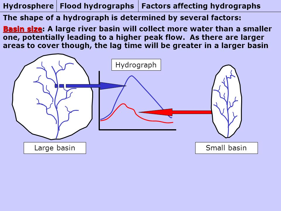 Flood hydrographsHydrosphere Basin size Basin size: A large river basin will collect more water than a smaller one, potentially leading to a higher peak flow.