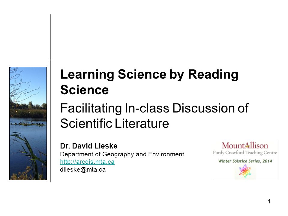 1 Learning Science by Reading Science Facilitating In-class