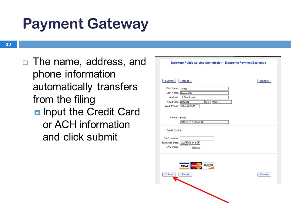 Payment Gateway 23  The name, address, and phone information automatically transfers from the filing  Input the Credit Card or ACH information and click submit