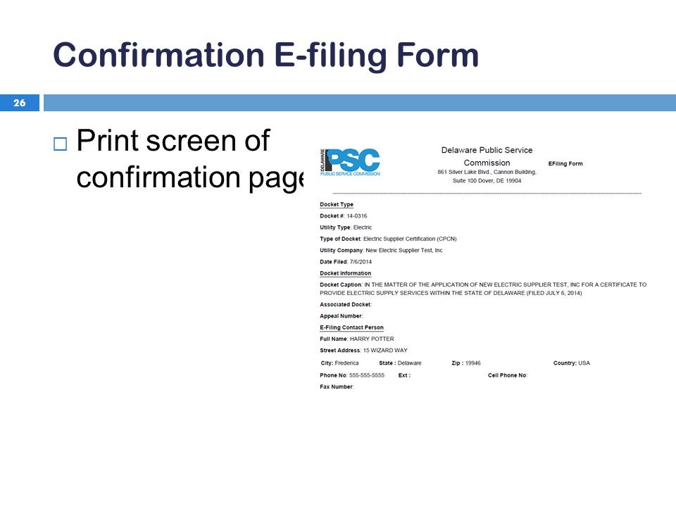 Confirmation E-filing Form 26  Print screen of confirmation page