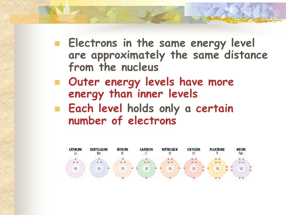 Electrons in the same energy level are approximately the same distance from the nucleus Outer energy levels have more energy than inner levels Each level holds only a certain number of electrons