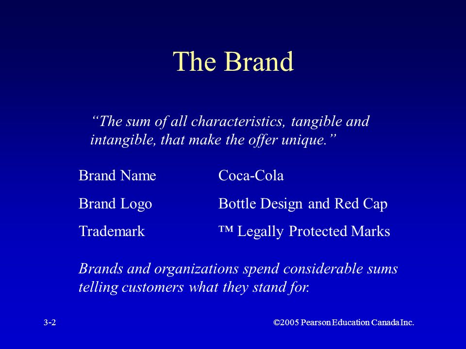 ©2005 Pearson Education Canada Inc.3-2 The Brand The sum of all characteristics, tangible and intangible, that make the offer unique. Brand NameCoca-Cola Brand LogoBottle Design and Red Cap Trademark™ Legally Protected Marks Brands and organizations spend considerable sums telling customers what they stand for.