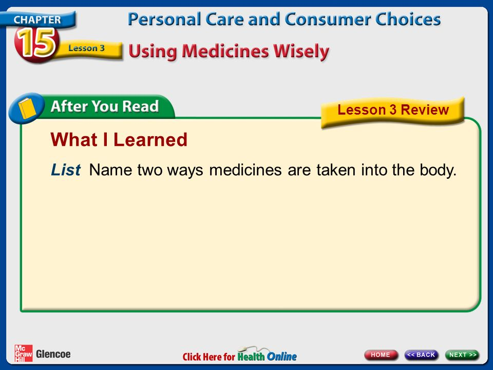 What I Learned List Name two ways medicines are taken into the body. Lesson 3 Review
