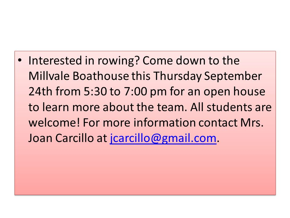 Interested in rowing.