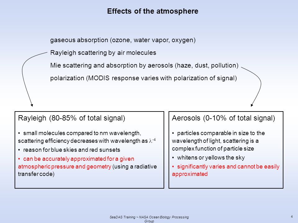 SeaDAS Training ~ NASA Ocean Biology Processing Group 4 Effects of the atmosphere gaseous absorption (ozone, water vapor, oxygen) Rayleigh scattering by air molecules Mie scattering and absorption by aerosols (haze, dust, pollution) polarization (MODIS response varies with polarization of signal) Rayleigh (80-85% of total signal) small molecules compared to nm wavelength, scattering efficiency decreases with wavelength as -4 reason for blue skies and red sunsets can be accurately approximated for a given atmospheric pressure and geometry (using a radiative transfer code) Aerosols (0-10% of total signal) particles comparable in size to the wavelength of light, scattering is a complex function of particle size whitens or yellows the sky significantly varies and cannot be easily approximated