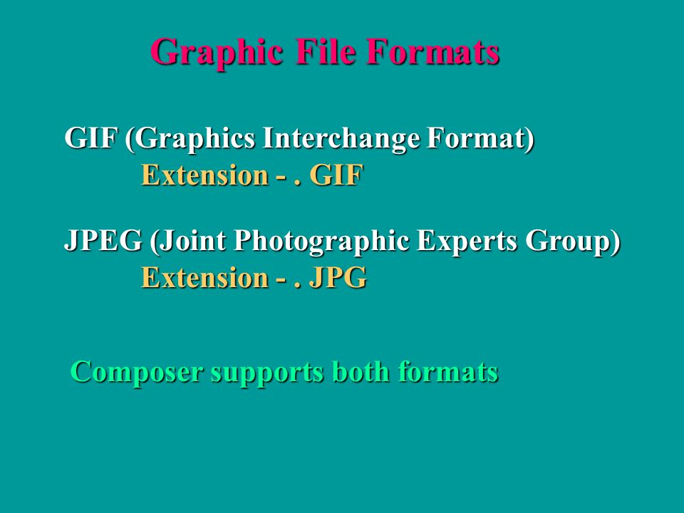Graphic File Formats GIF (Graphics Interchange Format) Extension -.