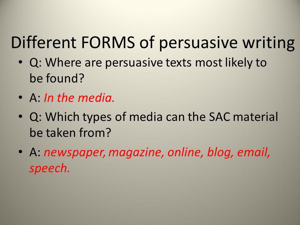 types of persuasive texts