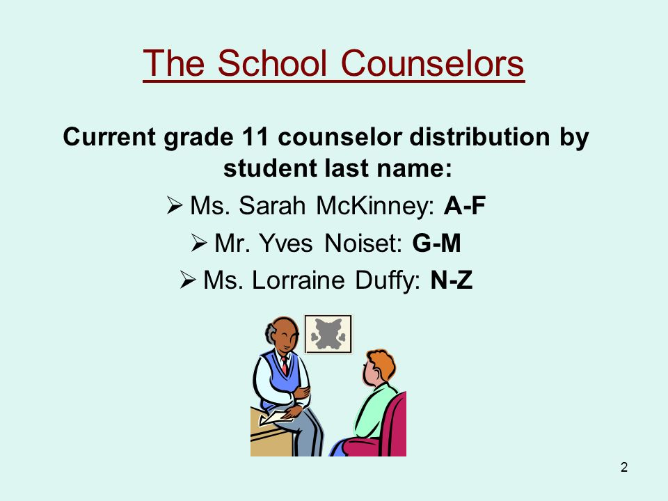 2 The School Counselors Current grade 11 counselor distribution by student last name:  Ms.