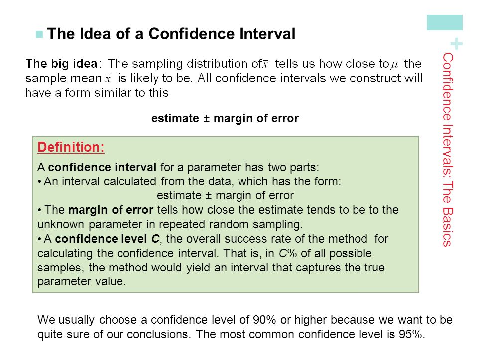 + The Idea of a Confidence Interval estimate ± margin of error Confidence Intervals: The Basics Definition: A confidence interval for a parameter has two parts: An interval calculated from the data, which has the form: estimate ± margin of error The margin of error tells how close the estimate tends to be to the unknown parameter in repeated random sampling.
