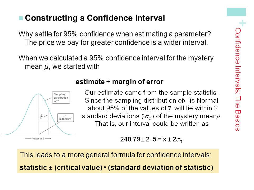 + Constructing a Confidence Interval Why settle for 95% confidence when estimating a parameter.