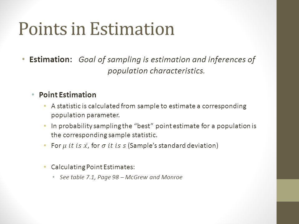 Points in Estimation