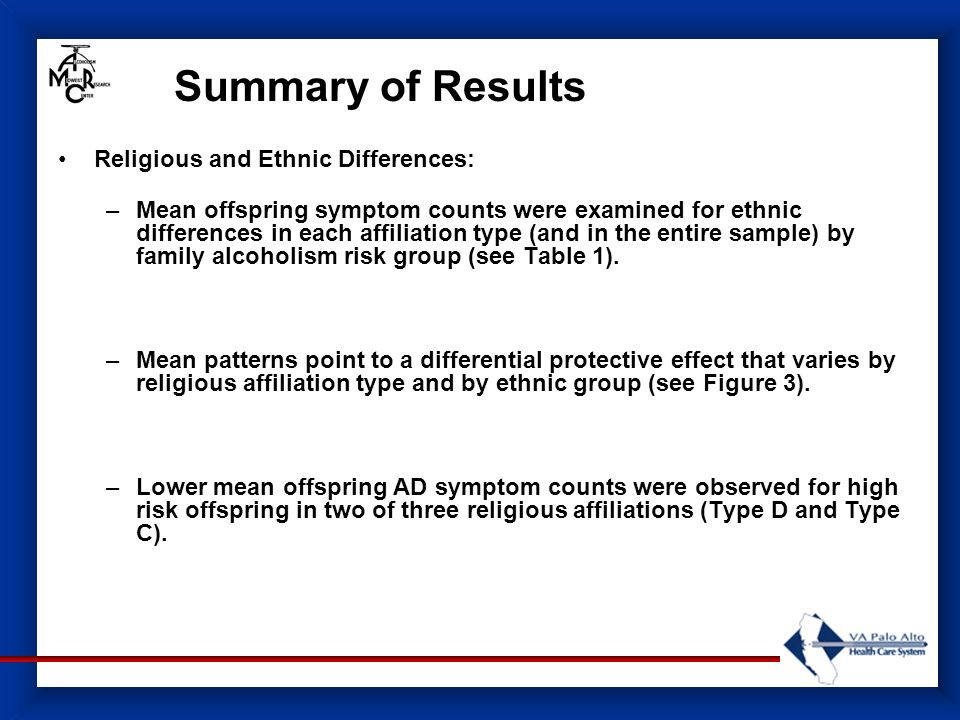 Summary of Results Religious and Ethnic Differences: –Mean offspring symptom counts were examined for ethnic differences in each affiliation type (and in the entire sample) by family alcoholism risk group (see Table 1).