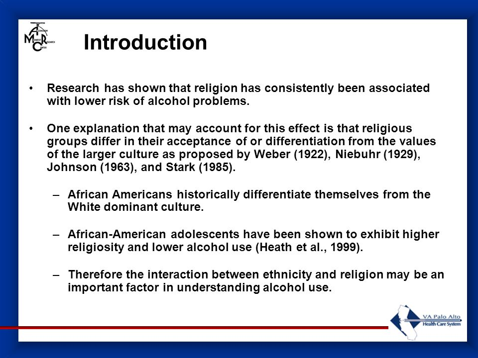 Introduction Research has shown that religion has consistently been associated with lower risk of alcohol problems.