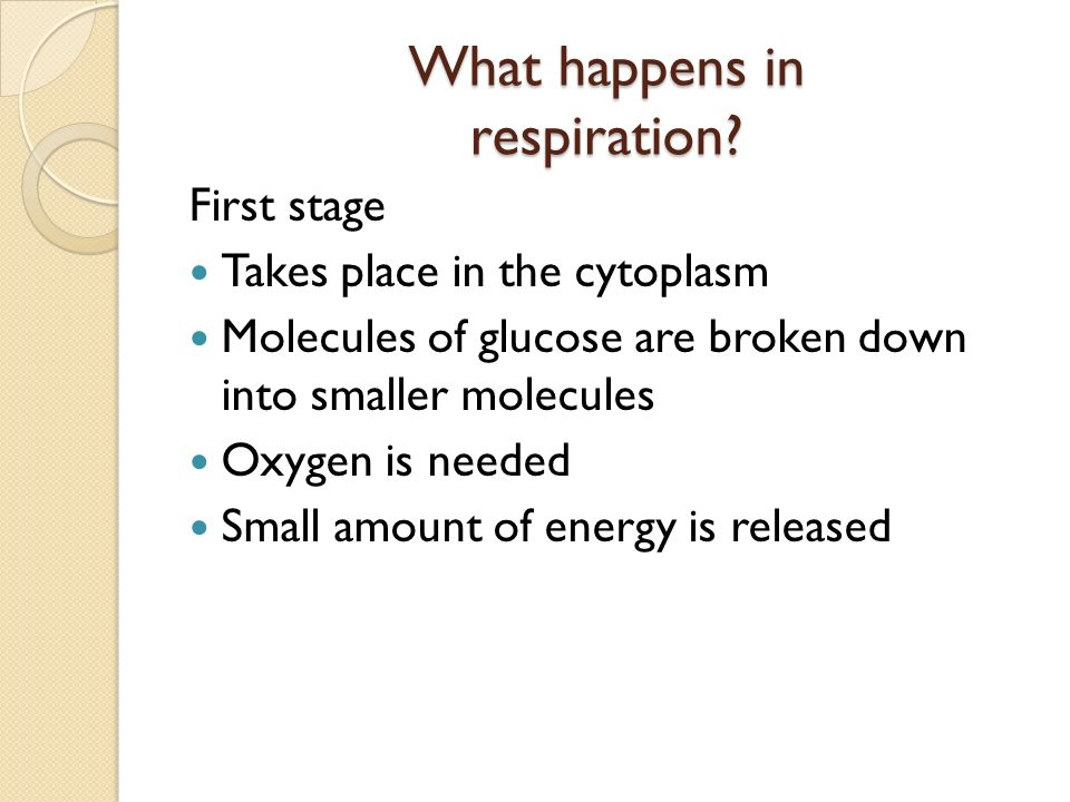 What happens in respiration.