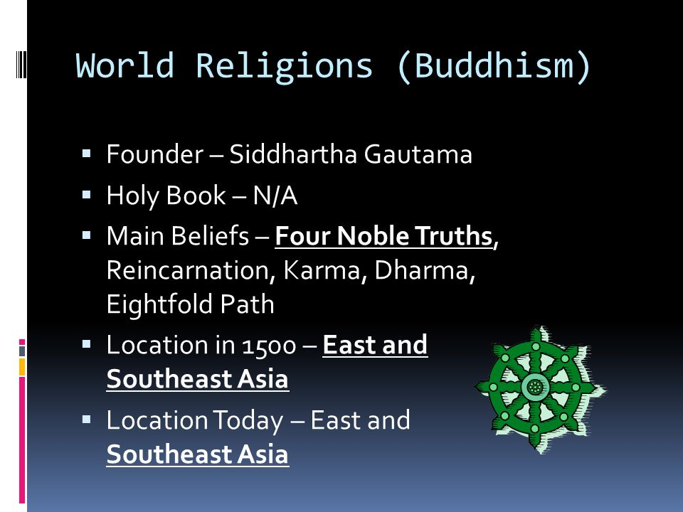 World Religions (Buddhism)  Founder – Siddhartha Gautama  Holy Book – N/A  Main Beliefs – Four Noble Truths, Reincarnation, Karma, Dharma, Eightfold Path  Location in 1500 – East and Southeast Asia  Location Today – East and Southeast Asia