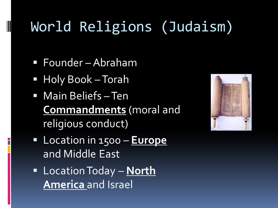 World Religions (Judaism)  Founder – Abraham  Holy Book – Torah  Main Beliefs – Ten Commandments (moral and religious conduct)  Location in 1500 – Europe and Middle East  Location Today – North America and Israel