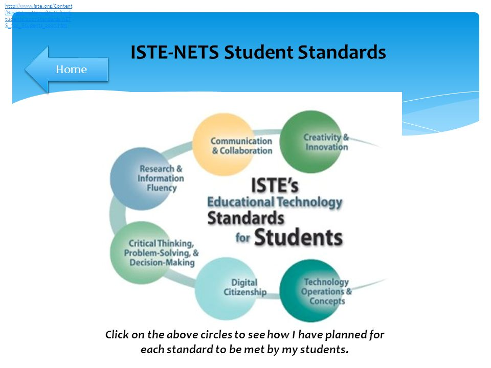 ISTE-NETS Student Standards   /NavigationMenu/NETS/ForS tudents/2007Standards/NET S_for_Students_2007.htm Click on the above circles to see how I have planned for each standard to be met by my students.