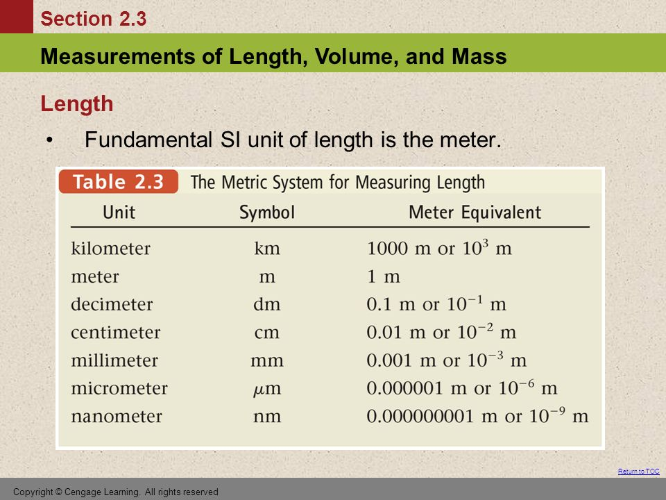 Section 2.3 Measurements of Length, Volume, and Mass Return to TOC Copyright © Cengage Learning.