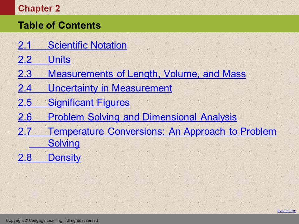 Chapter 2 Table of Contents Return to TOC Copyright © Cengage Learning.